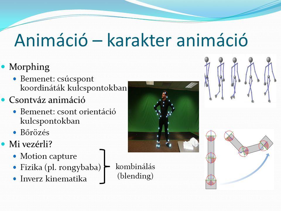 Animáció – karakter animáció Morphing Bemenet: csúcspont koordináták kulcspontokban Csontváz animáció Bemenet: csont orientáció kulcspontokban Bőrözés Mi vezérli.