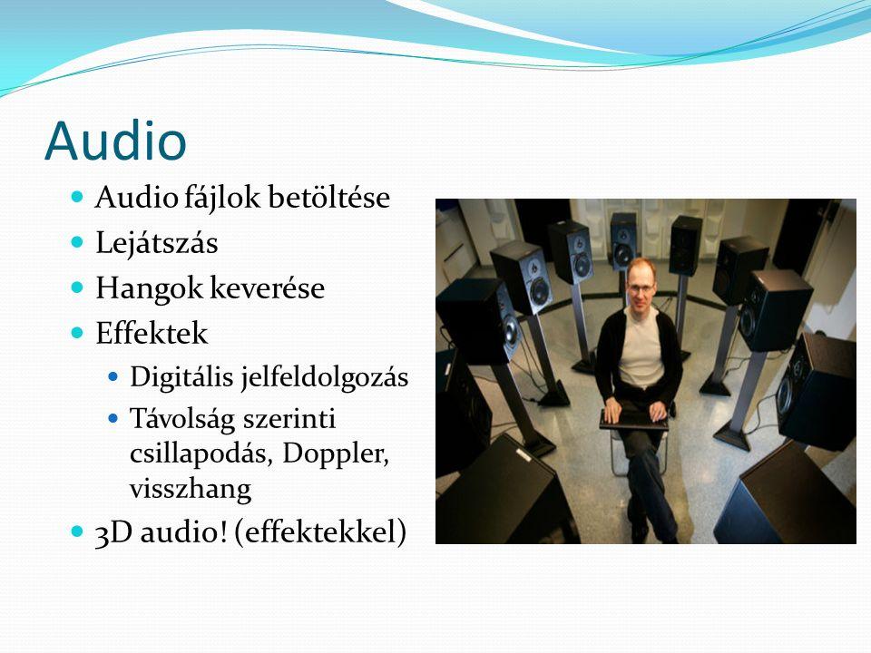 Audio Audio fájlok betöltése Lejátszás Hangok keverése Effektek Digitális jelfeldolgozás Távolság szerinti csillapodás, Doppler, visszhang 3D audio.