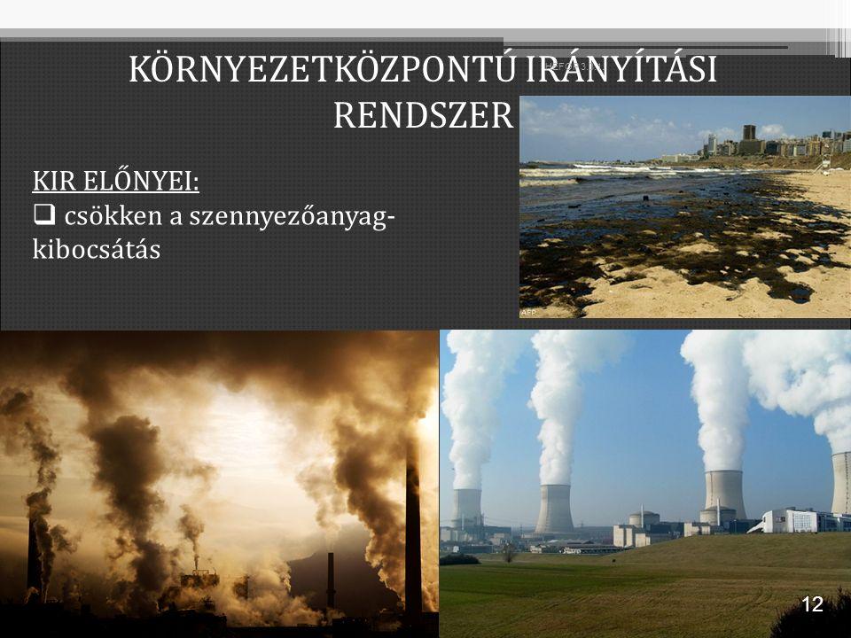 KIR ELŐNYEI:  csökken a szennyezőanyag- kibocsátás KÖRNYEZETKÖZPONTÚ IRÁNYÍTÁSI RENDSZER 12 HEFOP 3.3.1.