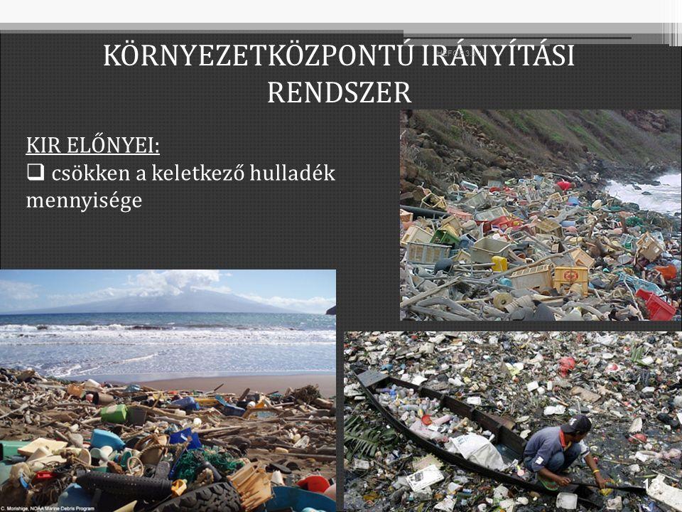 KIR ELŐNYEI:  csökken a keletkező hulladék mennyisége KÖRNYEZETKÖZPONTÚ IRÁNYÍTÁSI RENDSZER 13 HEFOP 3.3.1.
