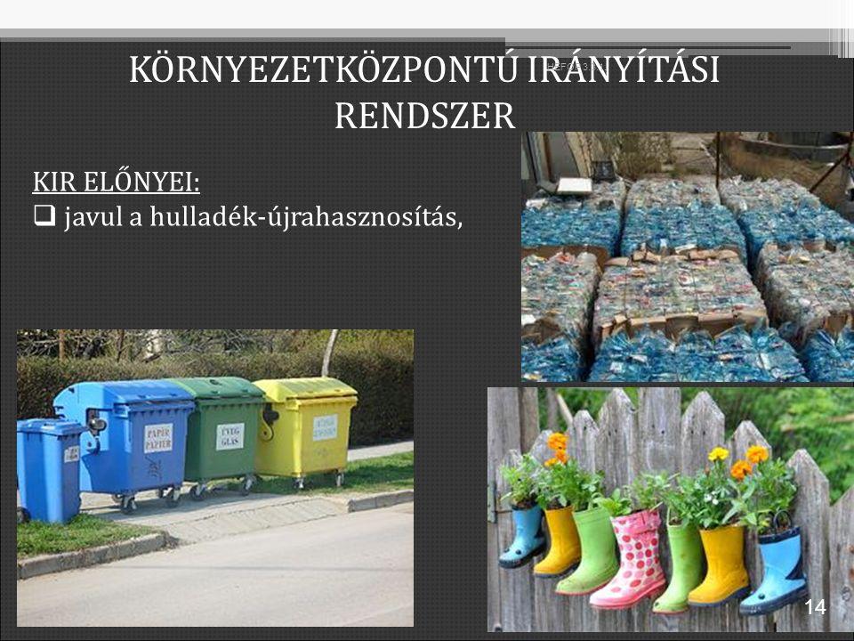 KIR ELŐNYEI:  javul a hulladék-újrahasznosítás, KÖRNYEZETKÖZPONTÚ IRÁNYÍTÁSI RENDSZER 14 HEFOP 3.3.1.