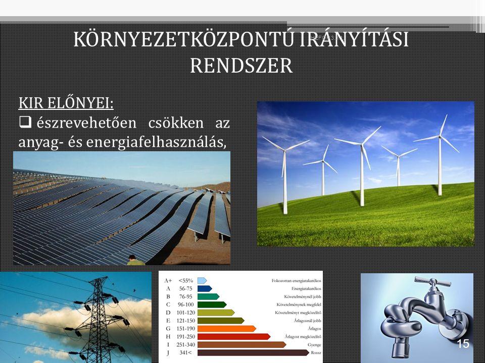 KIR ELŐNYEI:  észrevehetően csökken az anyag- és energiafelhasználás, KÖRNYEZETKÖZPONTÚ IRÁNYÍTÁSI RENDSZER 15 HEFOP 3.3.1.