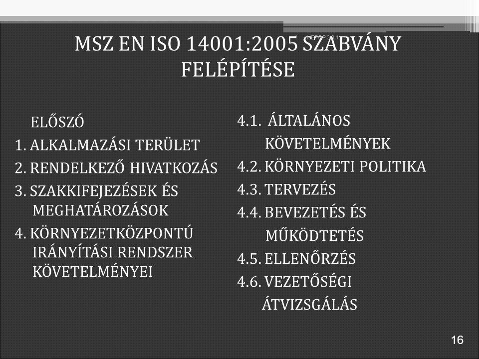 MSZ EN ISO 14001:2005 SZABVÁNY FELÉPÍTÉSE ELŐSZÓ 1.