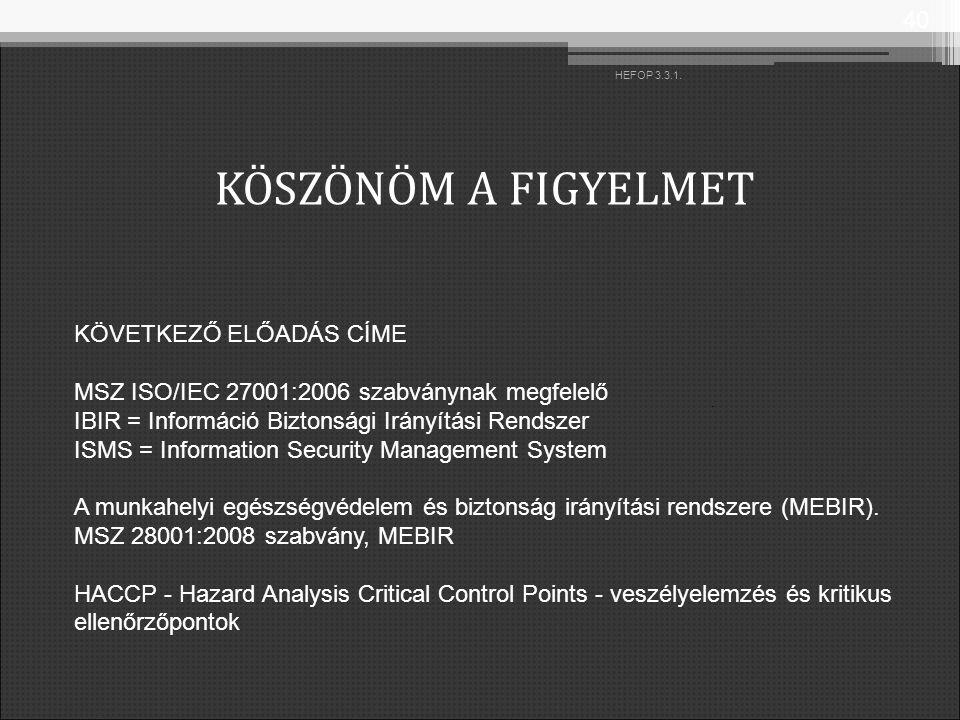 KÖSZÖNÖM A FIGYELMET 40 HEFOP 3.3.1. KÖVETKEZŐ ELŐADÁS CÍME MSZ ISO/IEC 27001:2006 szabványnak megfelelő IBIR = Információ Biztonsági Irányítási Rends