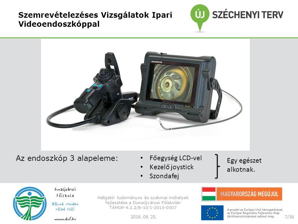 Szemrevételezéses Vizsgálatok Ipari Videoendoszkóppal Az endoszkóp 3 alapeleme: 2016.