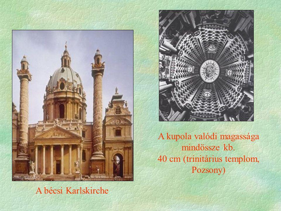 A bécsi Karlskirche A kupola valódi magassága mindössze kb. 40 cm (trinitárius templom, Pozsony)