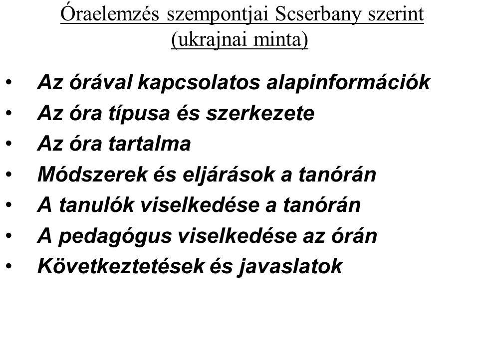 Óraelemzés szempontjai Scserbany szerint (ukrajnai minta) Az órával kapcsolatos alapinformációk Az óra típusa és szerkezete Az óra tartalma Módszerek és eljárások a tanórán A tanulók viselkedése a tanórán A pedagógus viselkedése az órán Következtetések és javaslatok