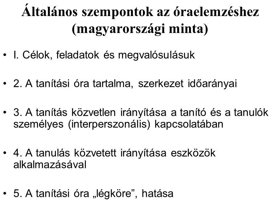 Általános szempontok az óraelemzéshez (magyarországi minta) I. Célok, feladatok és megvalósulásuk 2. A tanítási óra tartalma, szerkezet időarányai 3.
