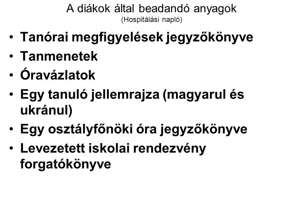 A diákok által beadandó anyagok (Hospitálási napló) Tanórai megfigyelések jegyzőkönyve Tanmenetek Óravázlatok Egy tanuló jellemrajza (magyarul és ukrá