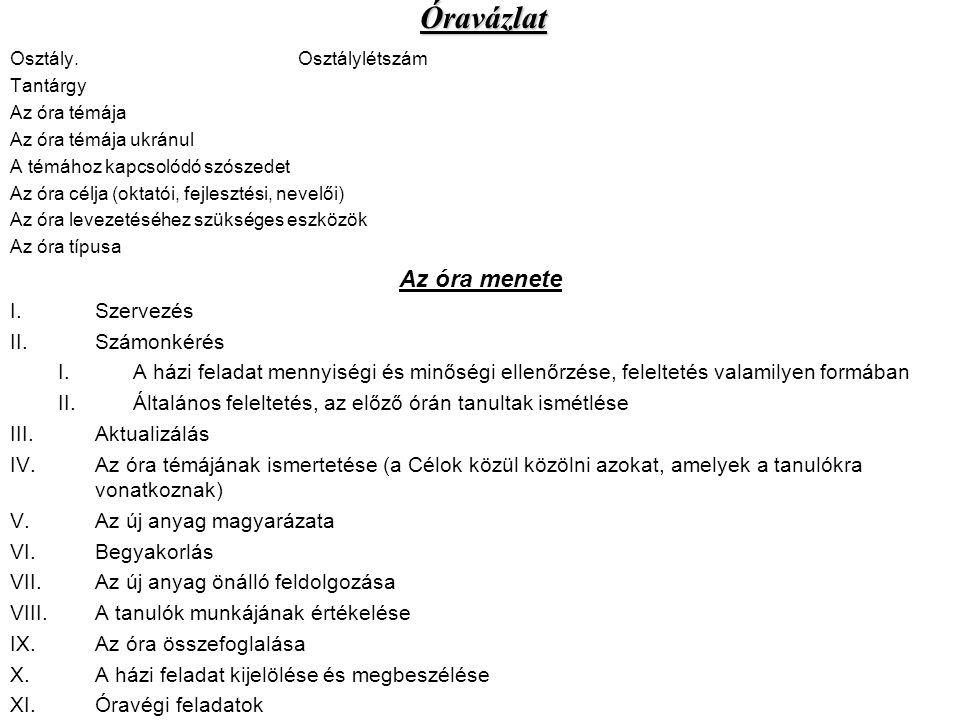 Osztály.Osztálylétszám Tantárgy Az óra témája Az óra témája ukránul A témához kapcsolódó szószedet Az óra célja (oktatói, fejlesztési, nevelői) Az óra
