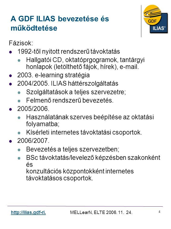 4 http://ilias.gdf-ri. MELLearN, ELTE 2006. 11. 24. A GDF ILIAS bevezetése és működtetése Fázisok: 1992-től nyitott rendszerű távoktatás Hallgatói CD,