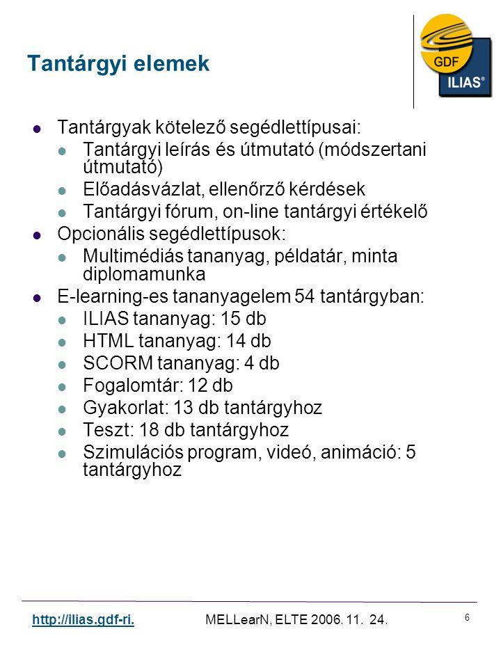 6 http://ilias.gdf-ri. MELLearN, ELTE 2006. 11. 24. Tantárgyak kötelező segédlettípusai: Tantárgyi leírás és útmutató (módszertani útmutató) Előadásvá