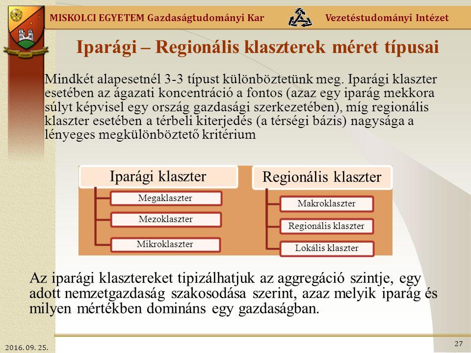 MISKOLCI EGYETEM Gazdaságtudományi Kar Vezetéstudományi Intézet Iparági – Regionális klaszterek méret típusai Mindkét alapesetnél 3-3 típust különböztetünk meg.