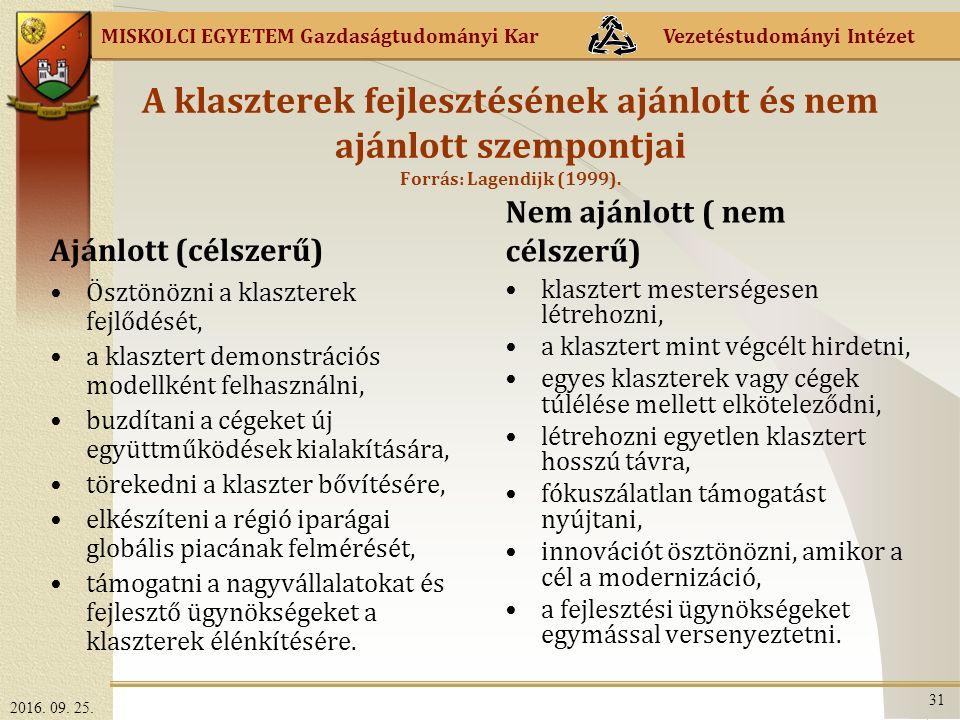 MISKOLCI EGYETEM Gazdaságtudományi Kar Vezetéstudományi Intézet A klaszterek fejlesztésének ajánlott és nem ajánlott szempontjai Forrás: Lagendijk (1999).