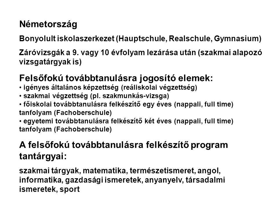 Németország Bonyolult iskolaszerkezet (Hauptschule, Realschule, Gymnasium) Záróvizsgák a 9. vagy 10 évfolyam lezárása után (szakmai alapozó vizsgatárg