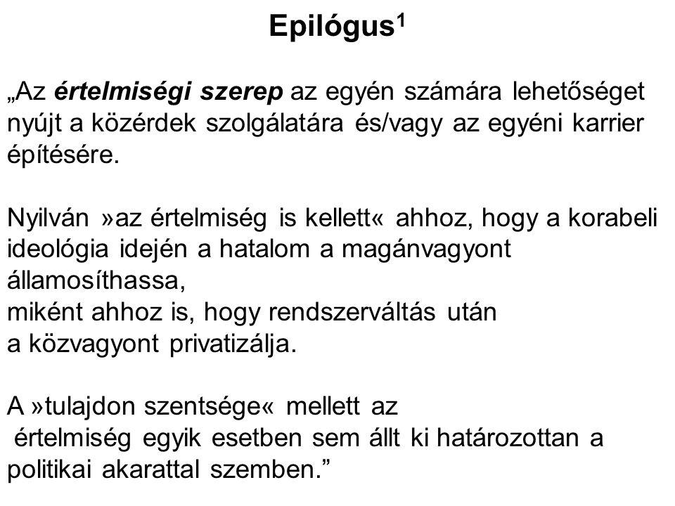 """Epilógus 1 """"Az értelmiségi szerep az egyén számára lehetőséget nyújt a közérdek szolgálatára és/vagy az egyéni karrier építésére. Nyilván »az értelmis"""