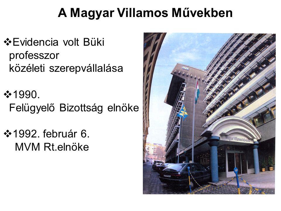 A Magyar Villamos Művekben  Evidencia volt Büki professzor közéleti szerepvállalása  1990. Felügyelő Bizottság elnöke  1992. február 6. MVM Rt.elnö