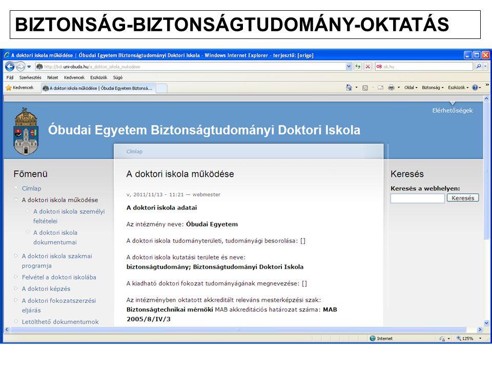BIZTONSÁG-BIZTONSÁGTUDOMÁNY-OKTATÁS