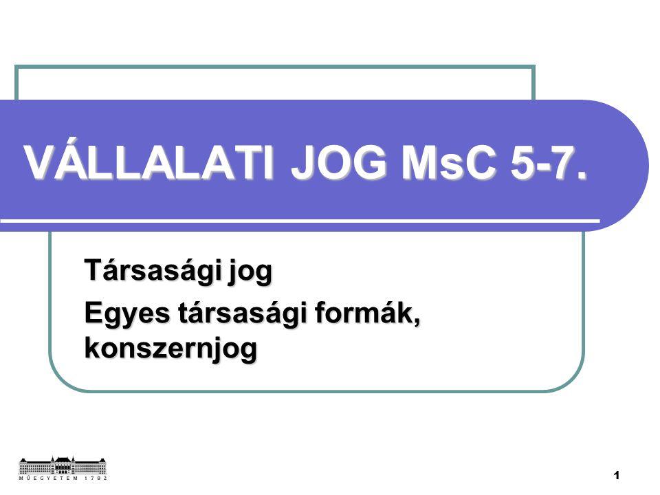 1 VÁLLALATI JOG MsC 5-7. Társasági jog Egyes társasági formák, konszernjog