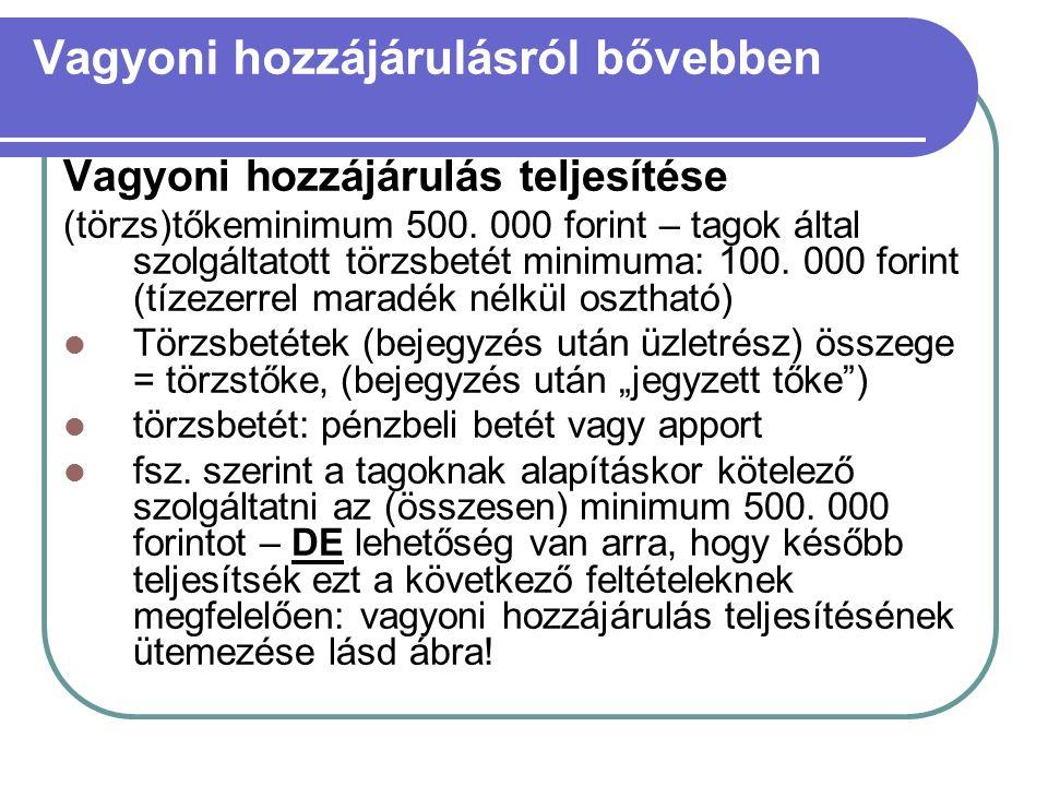Vagyoni hozzájárulásról bővebben Vagyoni hozzájárulás teljesítése (törzs)tőkeminimum 500.