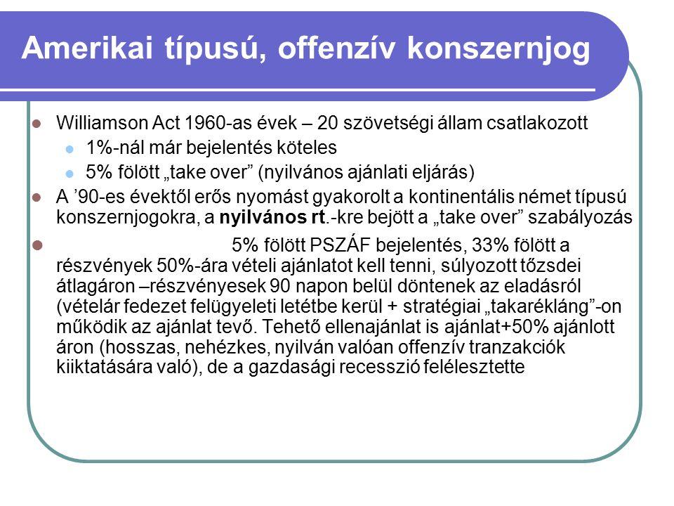 """Amerikai típusú, offenzív konszernjog Williamson Act 1960-as évek – 20 szövetségi állam csatlakozott 1%-nál már bejelentés köteles 5% fölött """"take over (nyilvános ajánlati eljárás) A '90-es évektől erős nyomást gyakorolt a kontinentális német típusú konszernjogokra, a nyilvános rt.-kre bejött a """"take over szabályozás Magyarországon 5% fölött PSZÁF bejelentés, 33% fölött a részvények 50%-ára vételi ajánlatot kell tenni, súlyozott tőzsdei átlagáron –részvényesek 90 napon belül döntenek az eladásról (vételár fedezet felügyeleti letétbe kerül + stratégiai """"takarékláng -on működik az ajánlat tevő."""