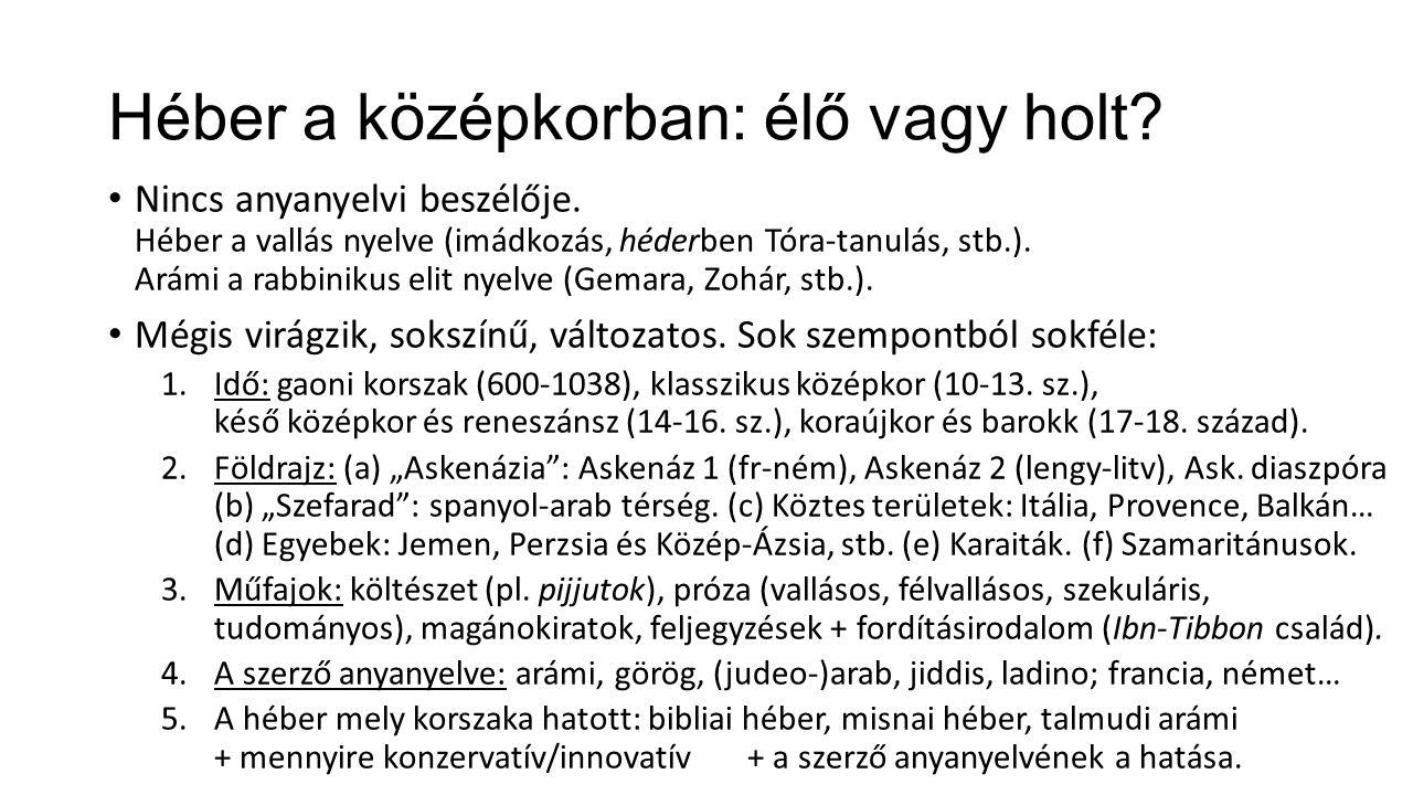 Héber a középkorban: élő vagy holt. Nincs anyanyelvi beszélője.