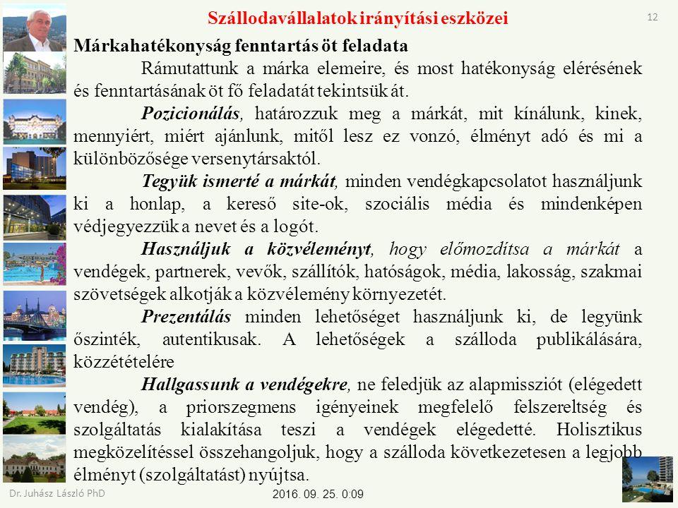 2016. 09. 25. 0:11 Dr. Juhász László PhD 12 Szállodavállalatok irányítási eszközei Márkahatékonyság fenntartás öt feladata Rámutattunk a márka elemeir