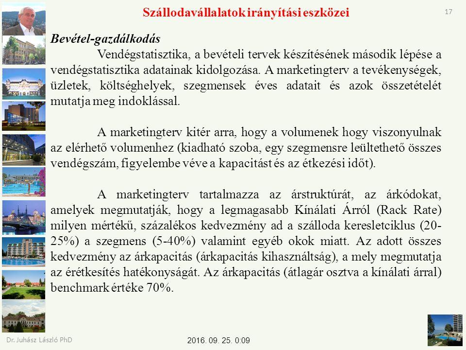 2016. 09. 25. 0:11 Dr. Juhász László PhD 17 Szállodavállalatok irányítási eszközei Bevétel-gazdálkodás Vendégstatisztika, a bevételi tervek készítésén