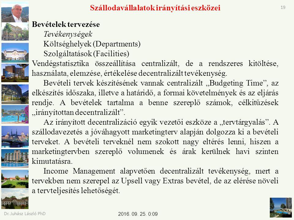 2016. 09. 25. 0:11 Dr. Juhász László PhD 19 Szállodavállalatok irányítási eszközei Bevételek tervezése Tevékenységek Költséghelyek (Departments) Szolg