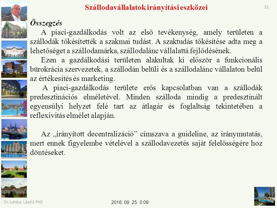 2016. 09. 25. 0:11 Dr. Juhász László PhD 21 Szállodavállalatok irányítási eszközei Összegzés A piaci-gazdálkodás volt az első tevékenység, amely terül