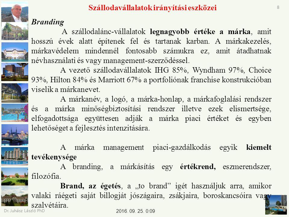 2016. 09. 25. 0:11 Dr. Juhász László PhD 8 Szállodavállalatok irányítási eszközei Branding A szállodalánc-vállalatok legnagyobb értéke a márka, amit h