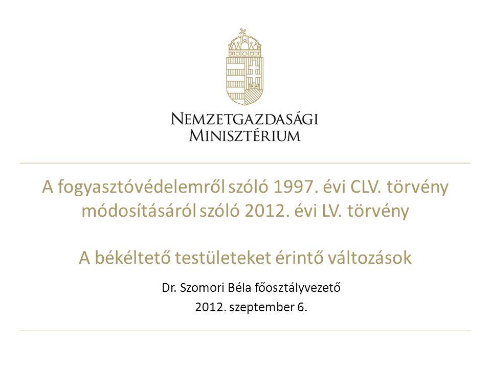 A fogyasztóvédelemről szóló 1997. évi CLV. törvény módosításáról szóló 2012.