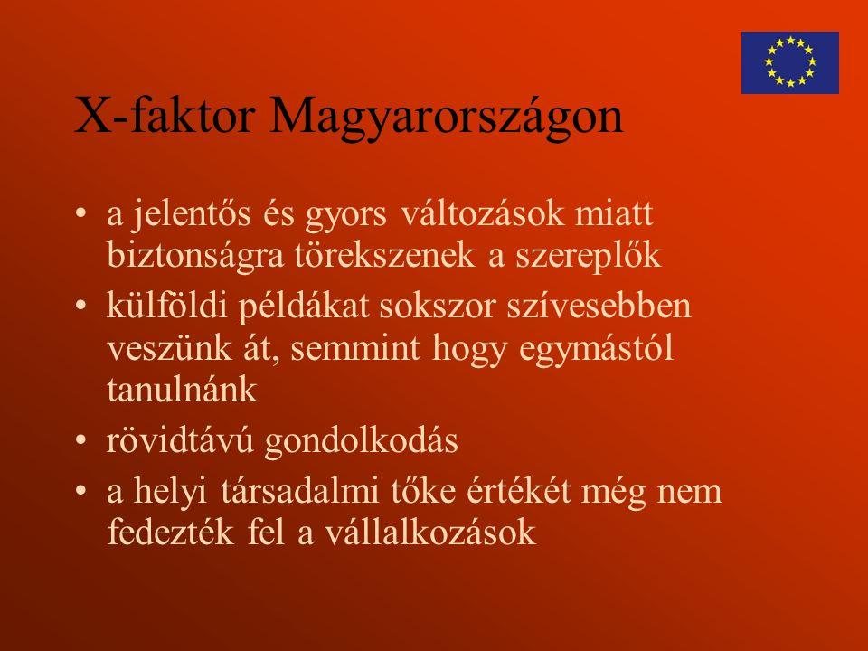X-faktor Magyarországon a jelentős és gyors változások miatt biztonságra törekszenek a szereplők külföldi példákat sokszor szívesebben veszünk át, semmint hogy egymástól tanulnánk rövidtávú gondolkodás a helyi társadalmi tőke értékét még nem fedezték fel a vállalkozások