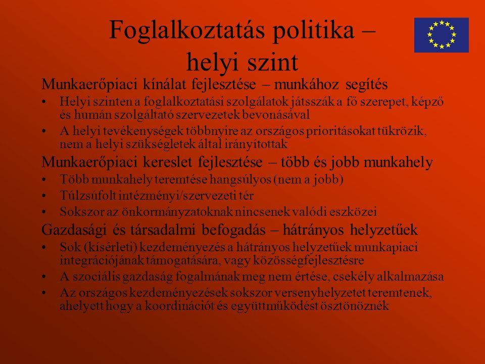 Foglalkoztatás politika – helyi szint Munkaerőpiaci kínálat fejlesztése – munkához segítés Helyi szinten a foglalkoztatási szolgálatok játsszák a fő s