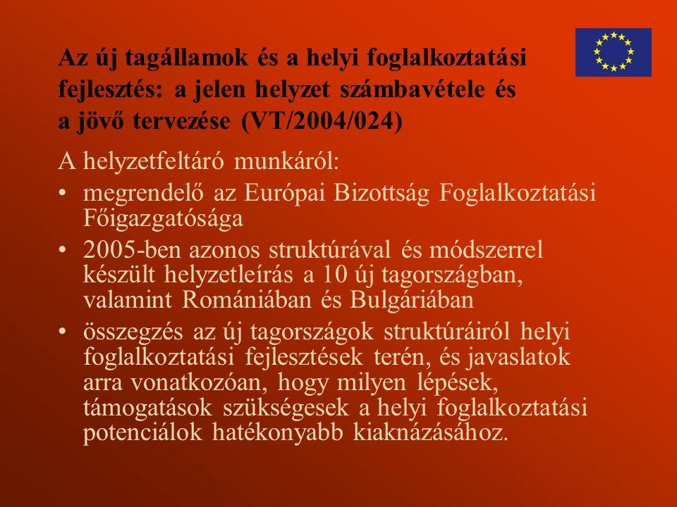 Az új tagállamok és a helyi foglalkoztatási fejlesztés: a jelen helyzet számbavétele és a jövő tervezése (VT/2004/024) A helyzetfeltáró munkáról: megr