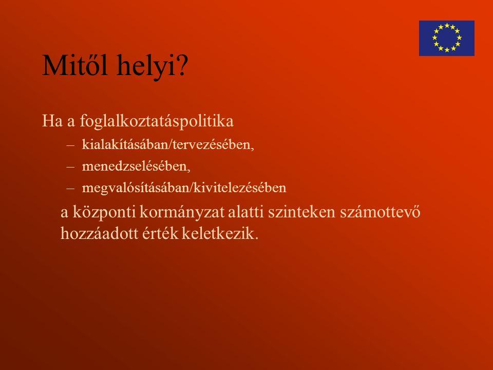 Helyi foglalkoztatási fejlesztések helyzete Magyarországon A helyi szint fontossága a kormányzásban (kormányzati struktúra, valós erőforrások) Kapacitás a helyi intézményekben és a civil társadalom ereje X-faktor: a helyi emberek és vezetők nyitottsága, rugalmassága, vállalkozói szelleme, dinamizmusa