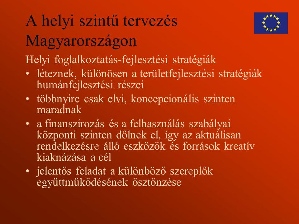A helyi szintű tervezés Magyarországon Helyi foglalkoztatás-fejlesztési stratégiák léteznek, különösen a területfejlesztési stratégiák humánfejlesztési részei többnyire csak elvi, koncepcionális szinten maradnak a finanszírozás és a felhasználás szabályai központi szinten dőlnek el, így az aktuálisan rendelkezésre álló eszközök és források kreatív kiaknázása a cél jelentős feladat a különböző szereplők együttműködésének ösztönzése