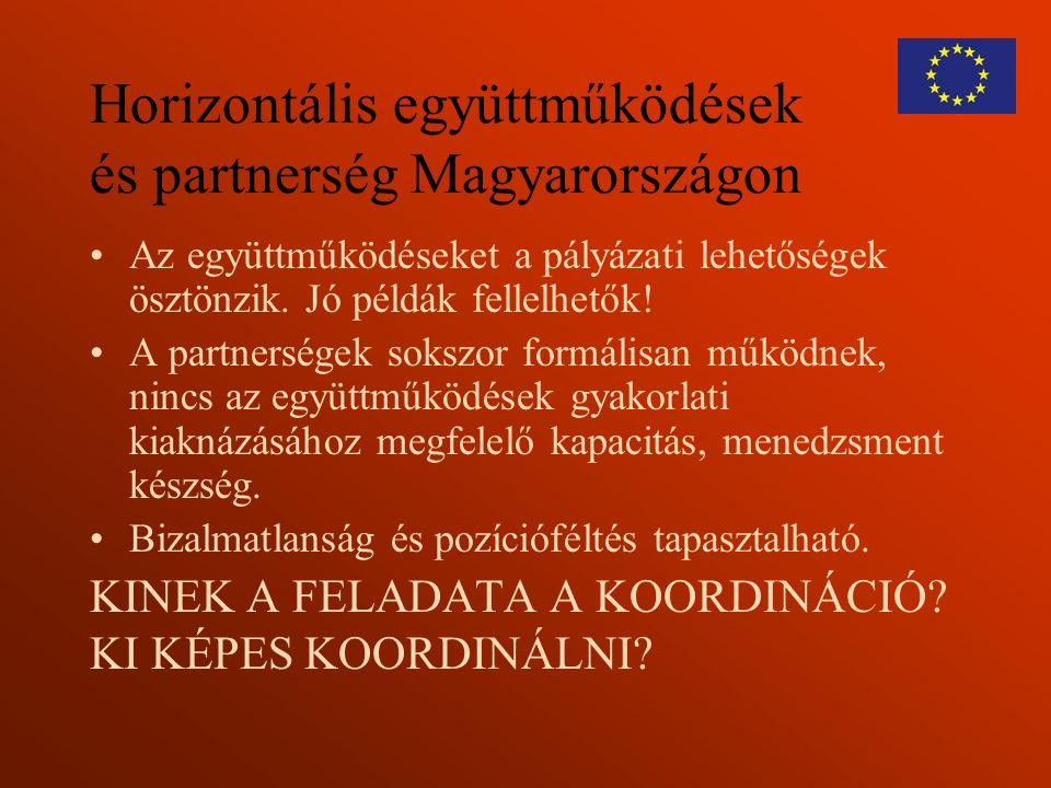 Horizontális együttműködések és partnerség Magyarországon Az együttműködéseket a pályázati lehetőségek ösztönzik. Jó példák fellelhetők! A partnersége