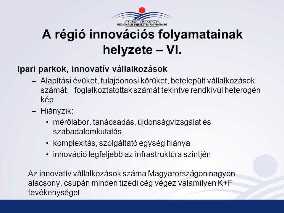 A régió innovációs folyamatainak helyzete – VI.