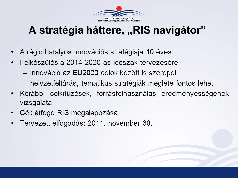 """A stratégia háttere, """"RIS navigátor A régió hatályos innovációs stratégiája 10 éves Felkészülés a 2014-2020-as időszak tervezésére –innováció az EU2020 célok között is szerepel –helyzetfeltárás, tematikus stratégiák megléte fontos lehet Korábbi célkitűzések, forrásfelhasználás eredményességének vizsgálata Cél: átfogó RIS megalapozása Tervezett elfogadás: 2011."""