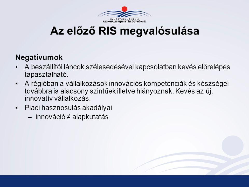 Az előző RIS megvalósulása Negatívumok A beszállítói láncok szélesedésével kapcsolatban kevés előrelépés tapasztalható.