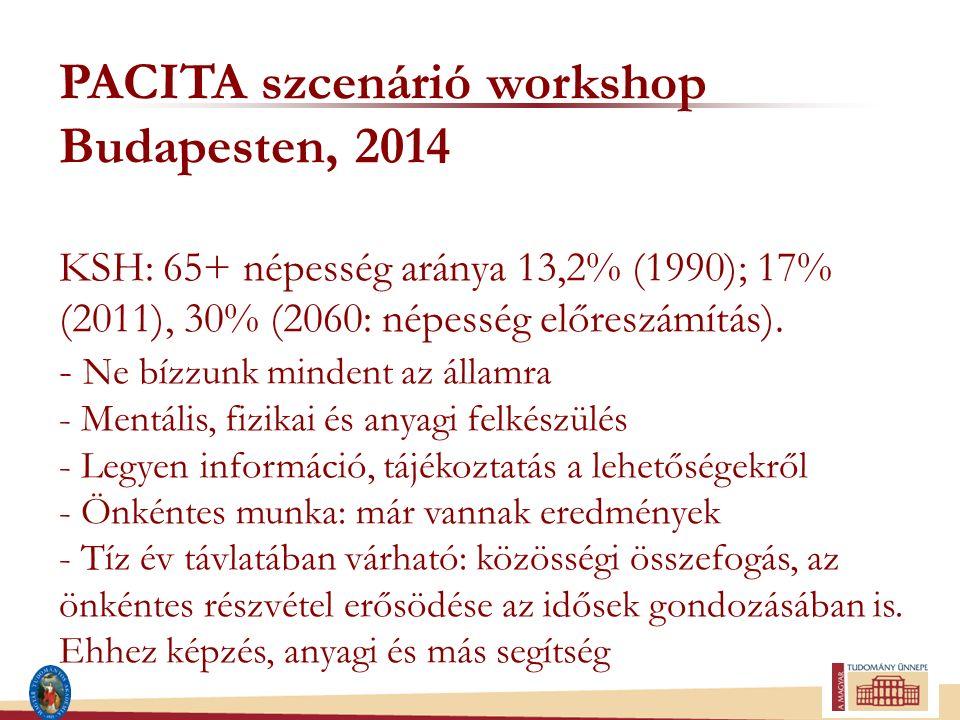 PACITA szcenárió workshop Budapesten, 2014 KSH: 65+ népesség aránya 13,2% (1990); 17% (2011), 30% (2060: népesség előreszámítás). - Ne bízzunk mindent