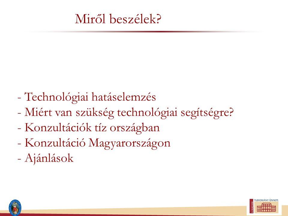 Miről beszélek? - Technológiai hatáselemzés - Miért van szükség technológiai segítségre? - Konzultációk tíz országban - Konzultáció Magyarországon - A