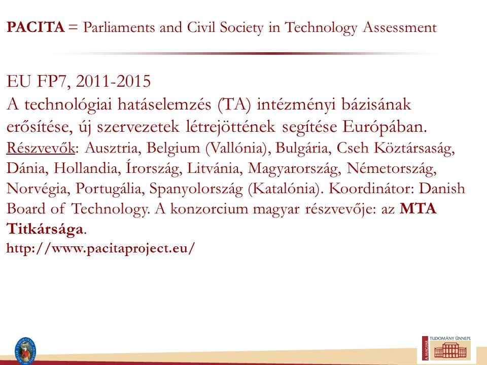 PACITA = Parliaments and Civil Society in Technology Assessment EU FP7, 2011-2015 A technológiai hatáselemzés (TA) intézményi bázisának erősítése, új szervezetek létrejöttének segítése Európában.