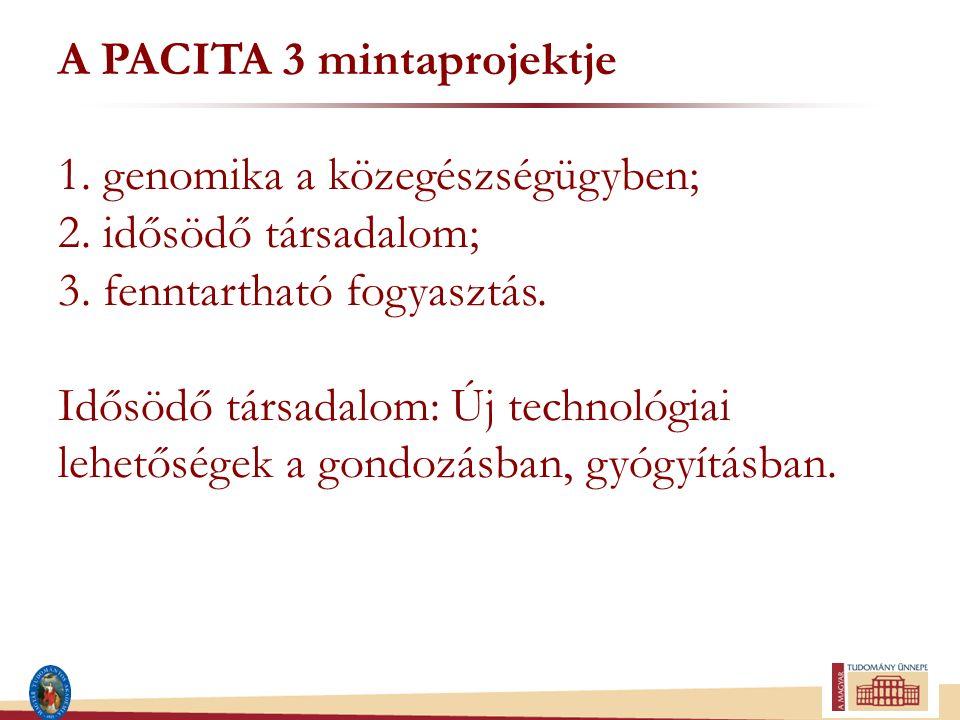 A PACITA 3 mintaprojektje 1. genomika a közegészségügyben; 2. idősödő társadalom; 3. fenntartható fogyasztás. Idősödő társadalom: Új technológiai lehe