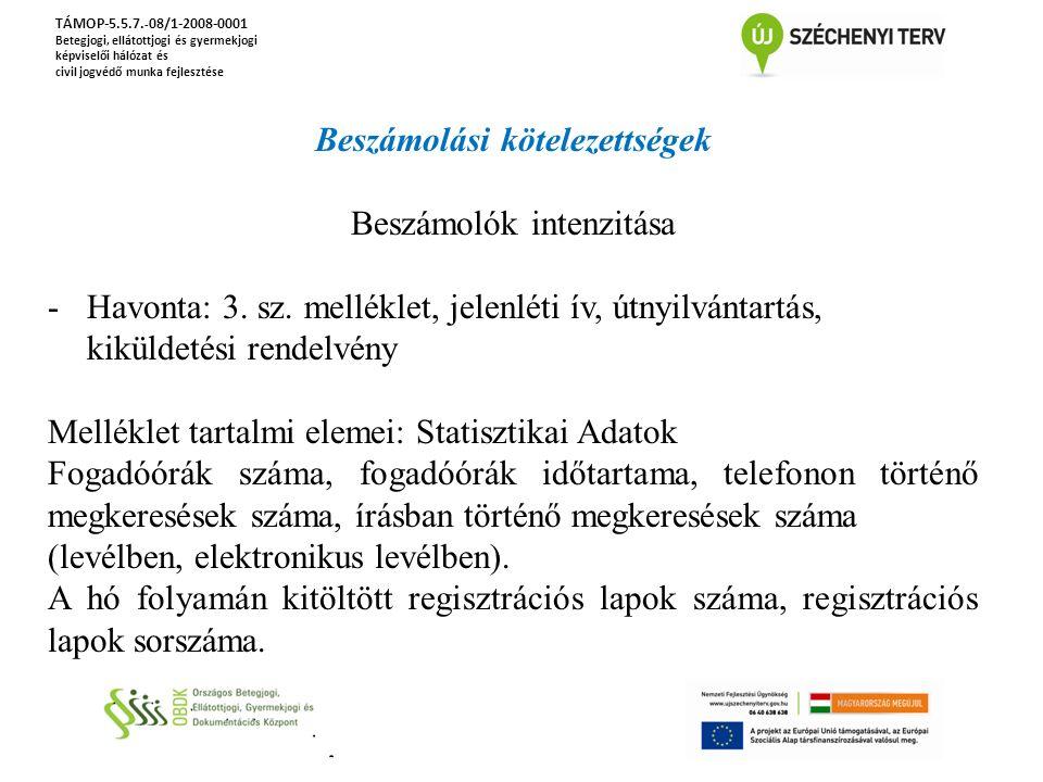 TÁMOP-5.5.7. - 08/1-2008-0001 Betegjogi, ellátottjogi és gyermekjogi képviselői hálózat és civil jogvédő munka fejlesztése Beszámolási kötelezettségek