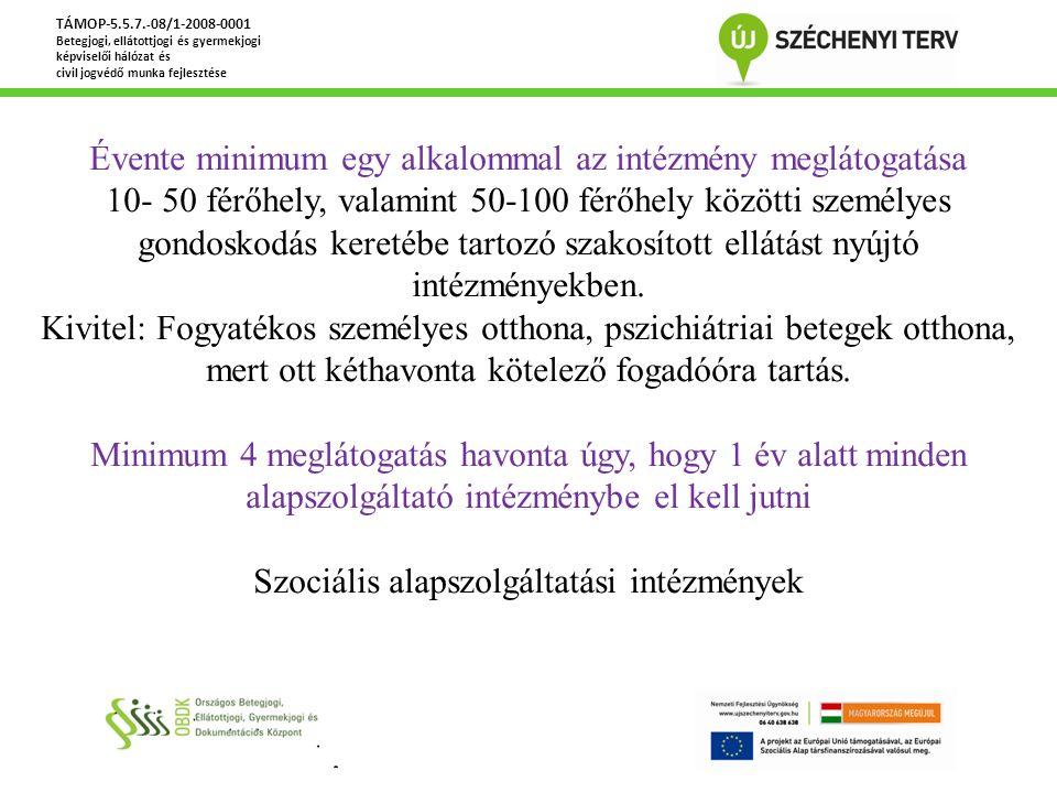 TÁMOP-5.5.7. - 08/1-2008-0001 Betegjogi, ellátottjogi és gyermekjogi képviselői hálózat és civil jogvédő munka fejlesztése Évente minimum egy alkalomm