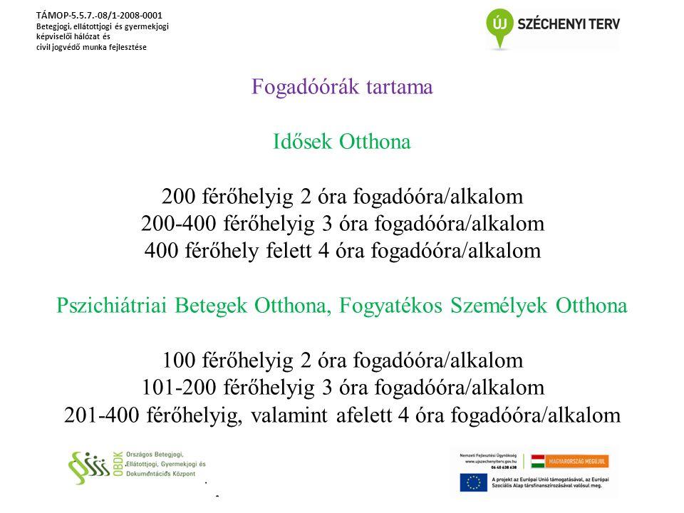 TÁMOP-5.5.7. - 08/1-2008-0001 Betegjogi, ellátottjogi és gyermekjogi képviselői hálózat és civil jogvédő munka fejlesztése Fogadóórák tartama Idősek O