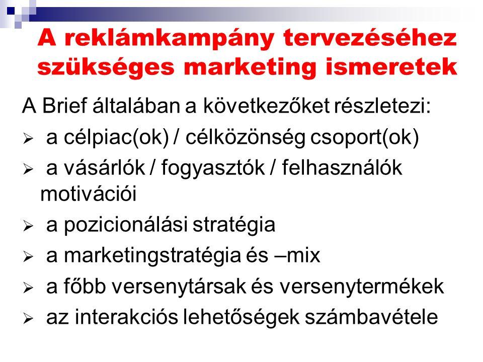 A reklámkampány tervezéséhez szükséges marketing ismeretek A Brief általában a következőket részletezi:  a célpiac(ok) / célközönség csoport(ok)  a vásárlók / fogyasztók / felhasználók motivációi  a pozicionálási stratégia  a marketingstratégia és –mix  a főbb versenytársak és versenytermékek  az interakciós lehetőségek számbavétele
