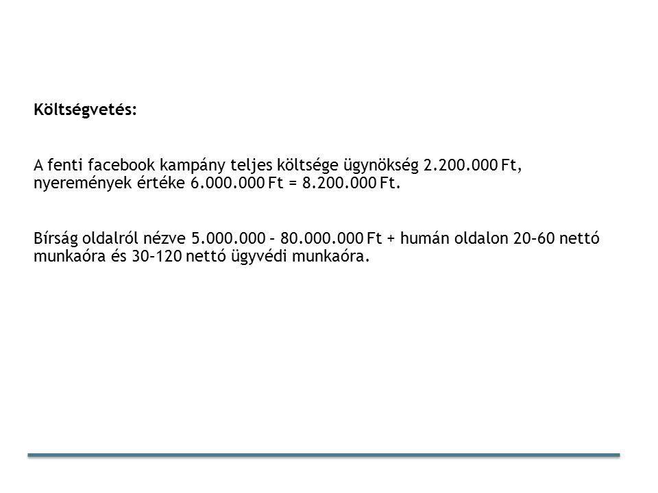 Költségvetés: A fenti facebook kampány teljes költsége ügynökség 2.200.000 Ft, nyeremények értéke 6.000.000 Ft = 8.200.000 Ft.